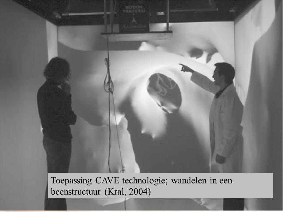 Toepassing CAVE technologie; wandelen in een beenstructuur (Kral, 2004)