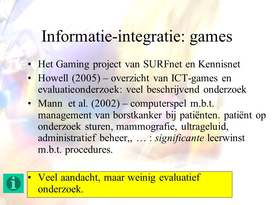 Informatie-integratie: games