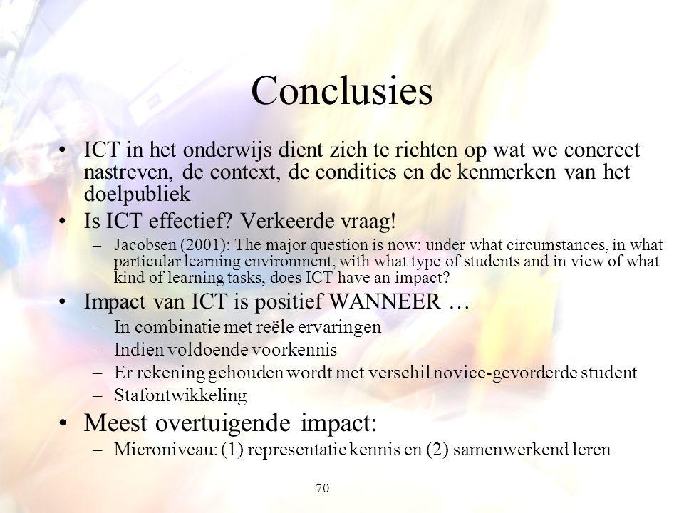 Conclusies Meest overtuigende impact: