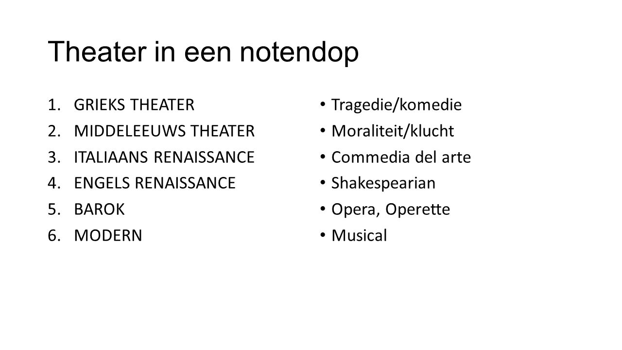 Theater in een notendop