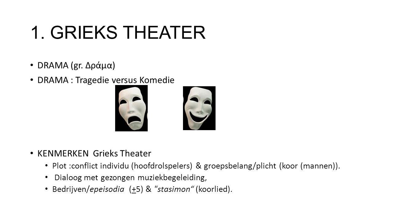 1. GRIEKS THEATER DRAMA (gr. Δράμα) DRAMA : Tragedie versus Komedie