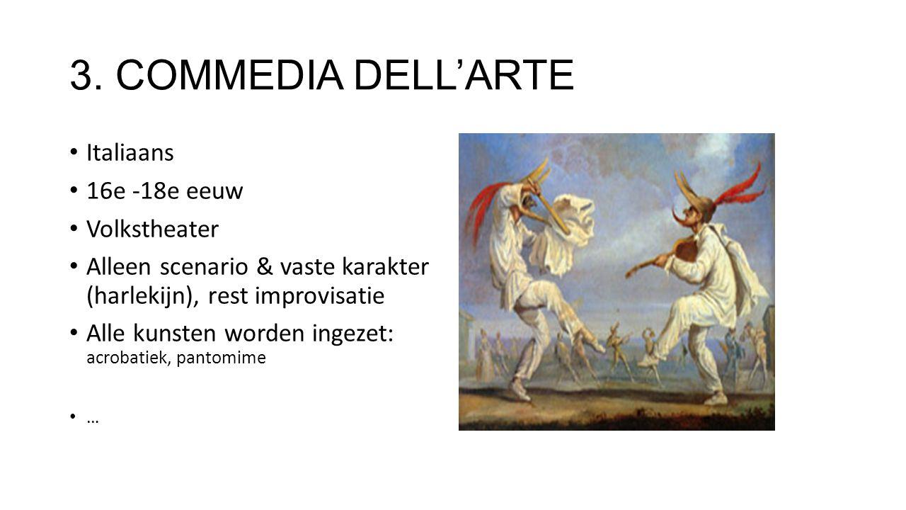 3. COMMEDIA DELL'ARTE Italiaans 16e -18e eeuw Volkstheater
