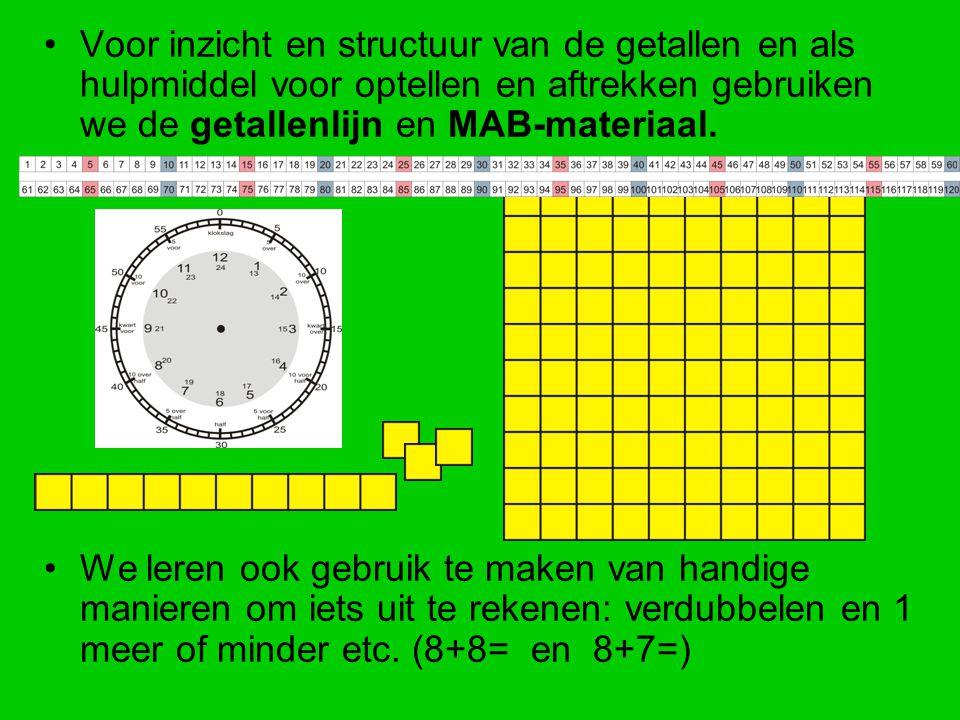 Voor inzicht en structuur van de getallen en als hulpmiddel voor optellen en aftrekken gebruiken we de getallenlijn en MAB-materiaal.