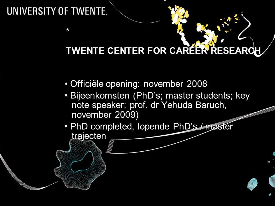 * TWENTE CENTER FOR CAREER RESEARCH