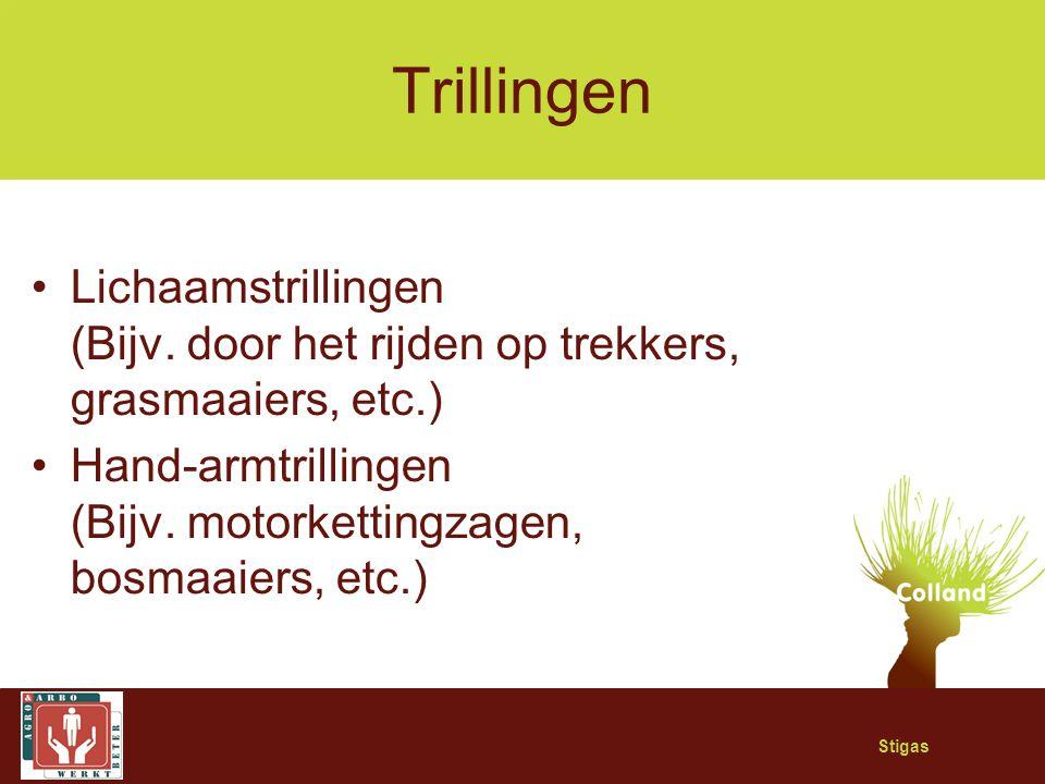 Trillingen Lichaamstrillingen (Bijv. door het rijden op trekkers, grasmaaiers, etc.) Hand-armtrillingen (Bijv. motorkettingzagen, bosmaaiers, etc.)