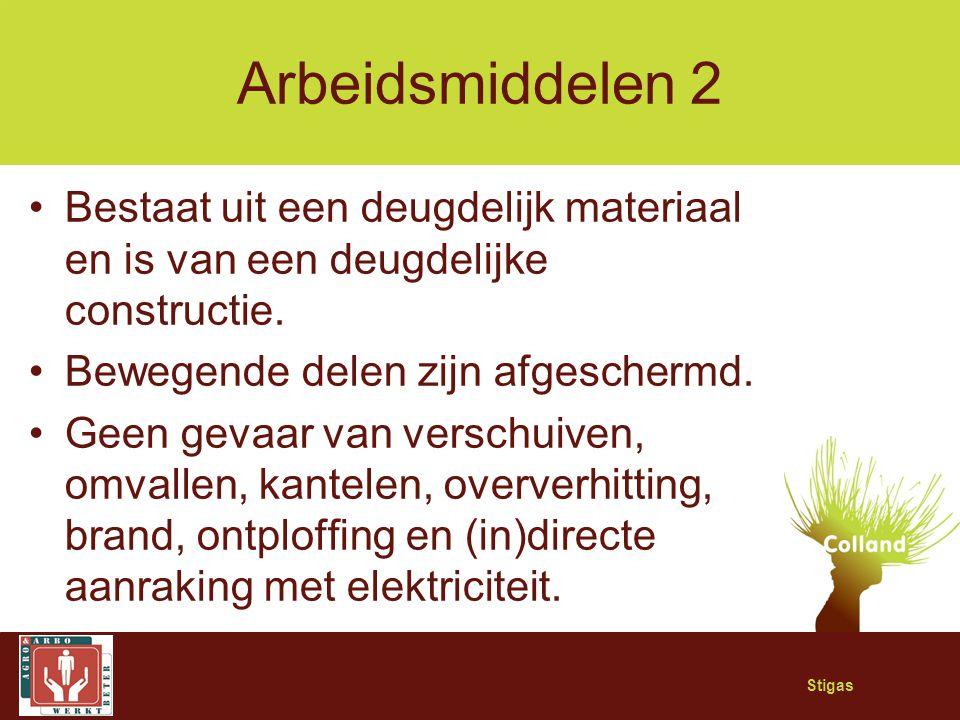 Arbeidsmiddelen 2 Bestaat uit een deugdelijk materiaal en is van een deugdelijke constructie. Bewegende delen zijn afgeschermd.