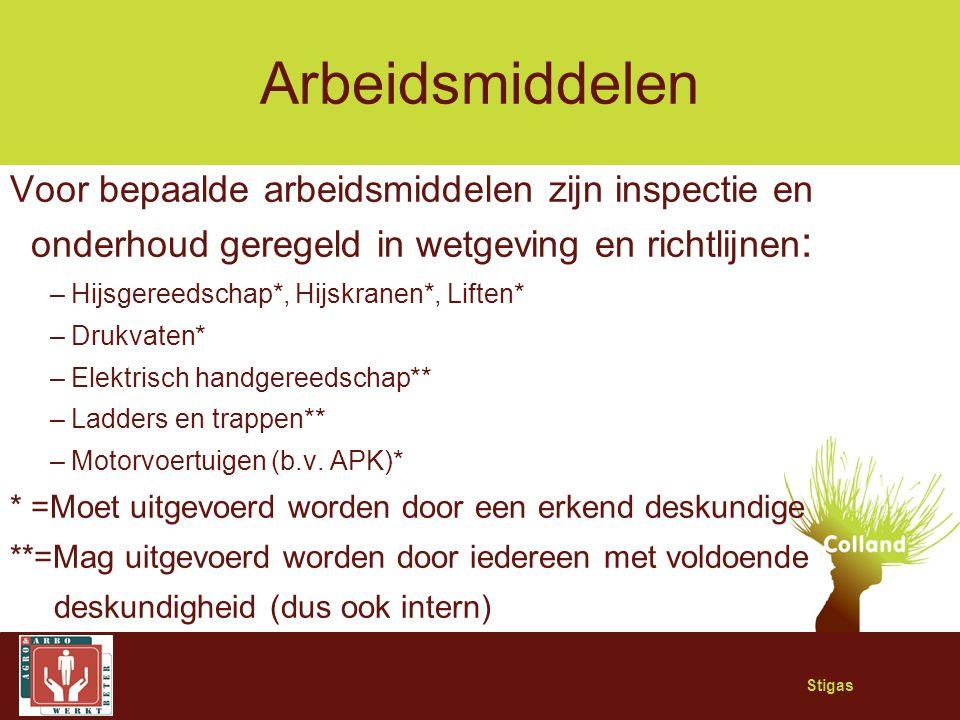 Arbeidsmiddelen Voor bepaalde arbeidsmiddelen zijn inspectie en onderhoud geregeld in wetgeving en richtlijnen: