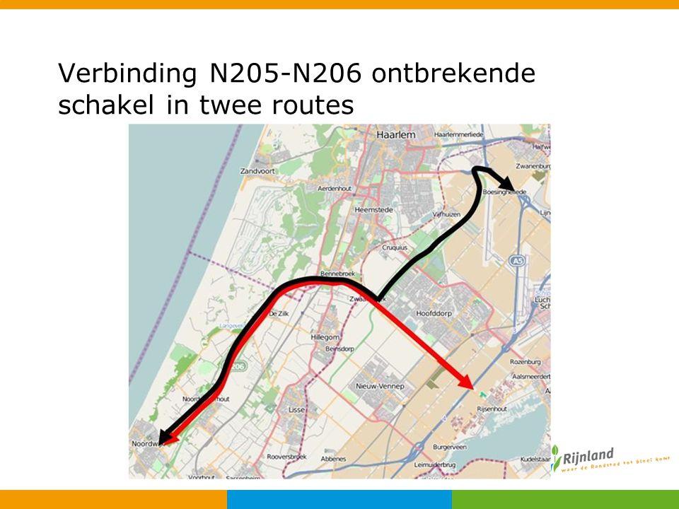 Verbinding N205-N206 ontbrekende schakel in twee routes