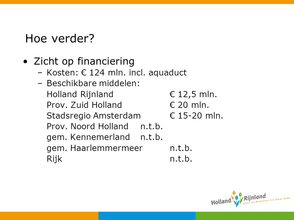 Hoe verder Zicht op financiering Kosten: € 124 mln. incl. aquaduct