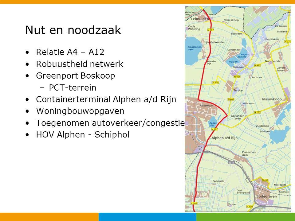 Nut en noodzaak Relatie A4 – A12 Robuustheid netwerk Greenport Boskoop