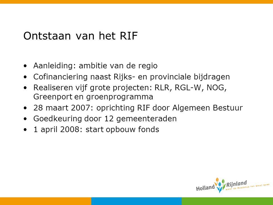 Ontstaan van het RIF Aanleiding: ambitie van de regio