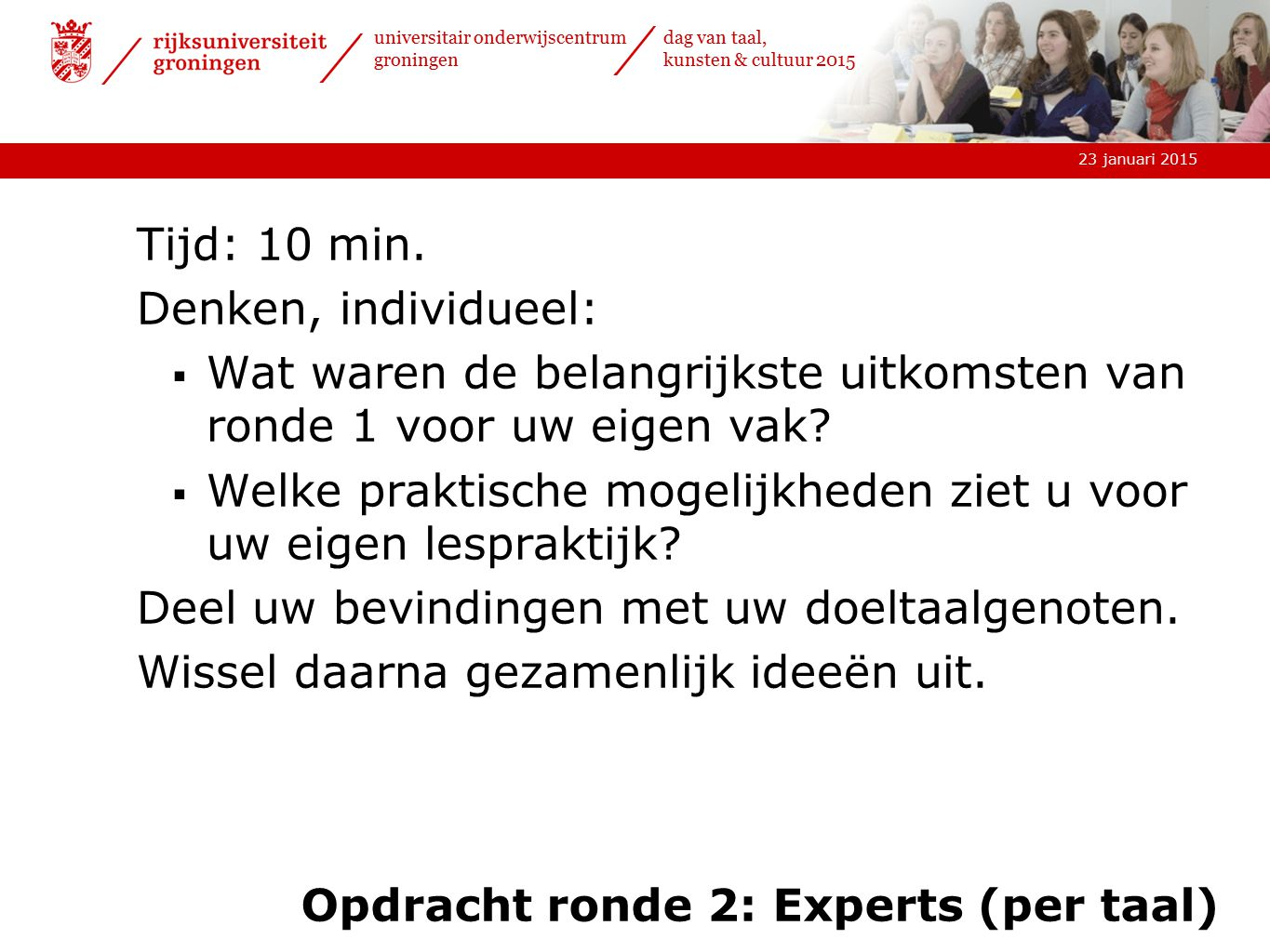 Opdracht ronde 2: Experts (per taal)