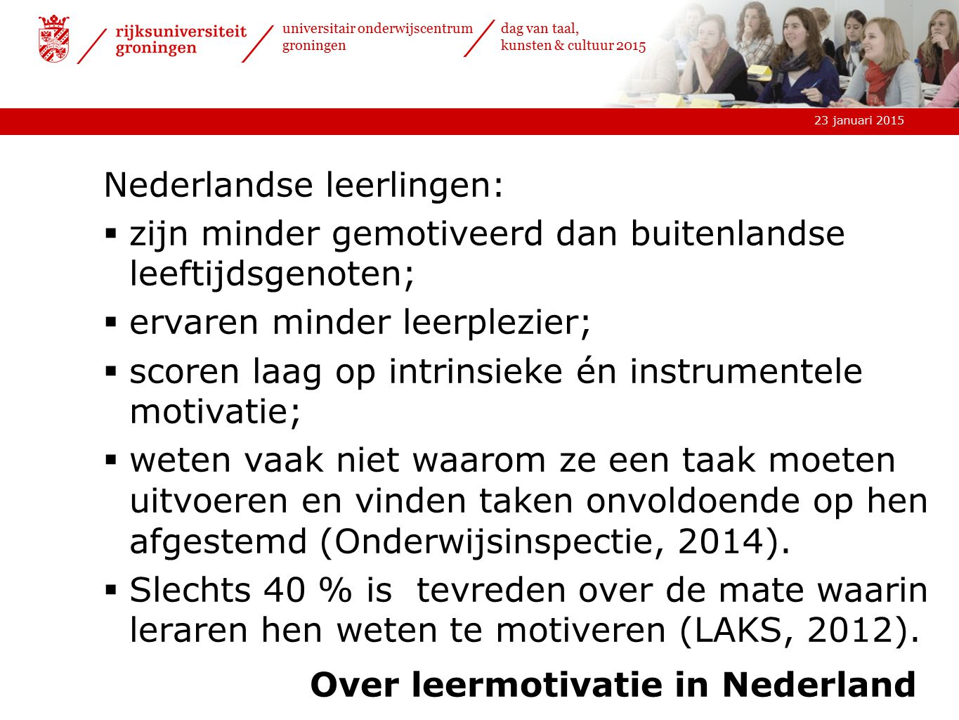 Over leermotivatie in Nederland