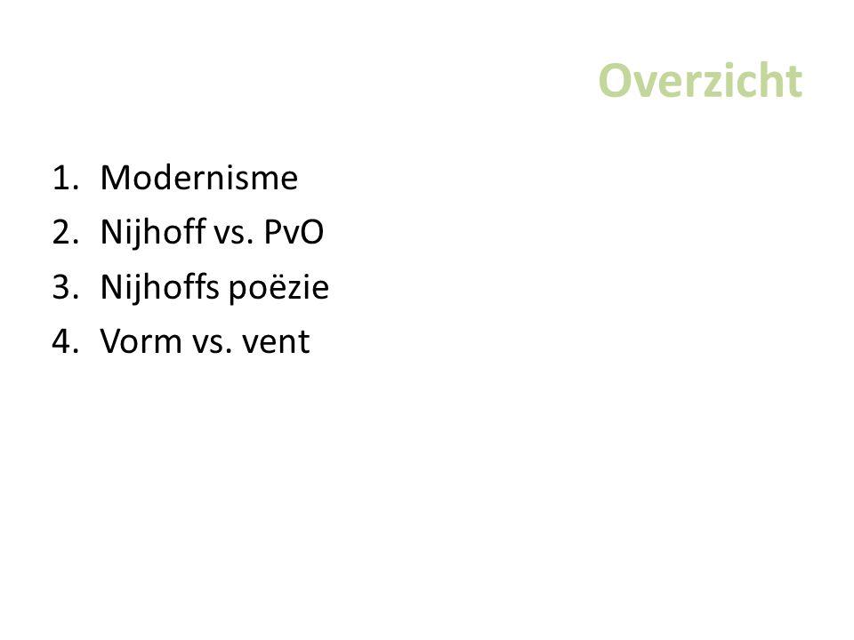 Overzicht Modernisme Nijhoff vs. PvO Nijhoffs poëzie Vorm vs. vent