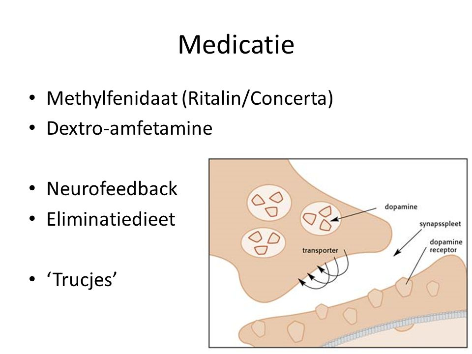 Medicatie Methylfenidaat (Ritalin/Concerta) Dextro-amfetamine
