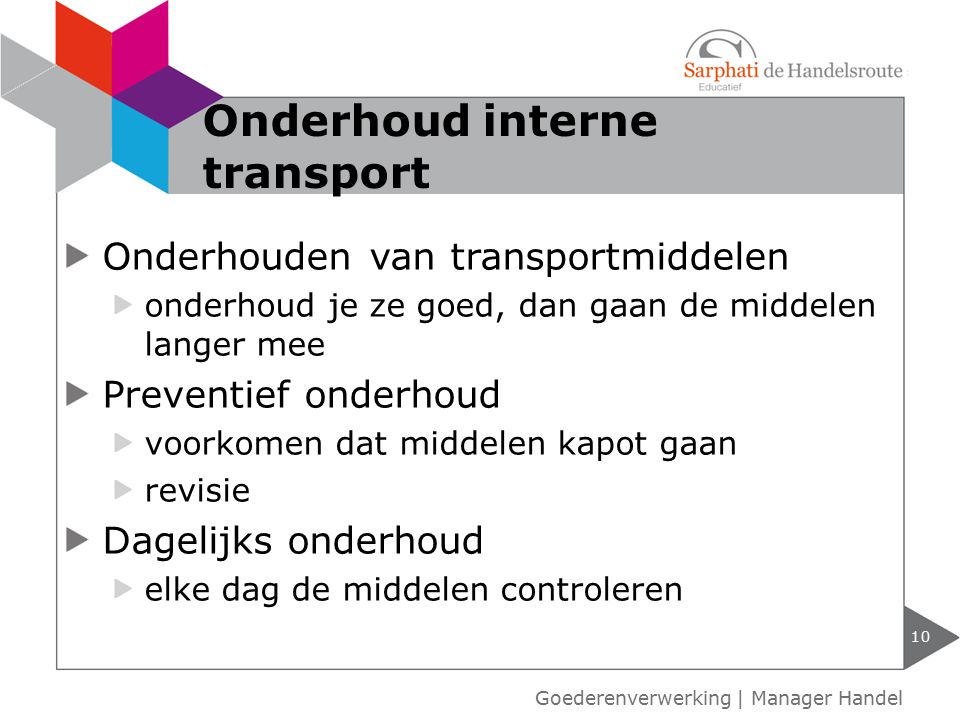 Onderhoud interne transport