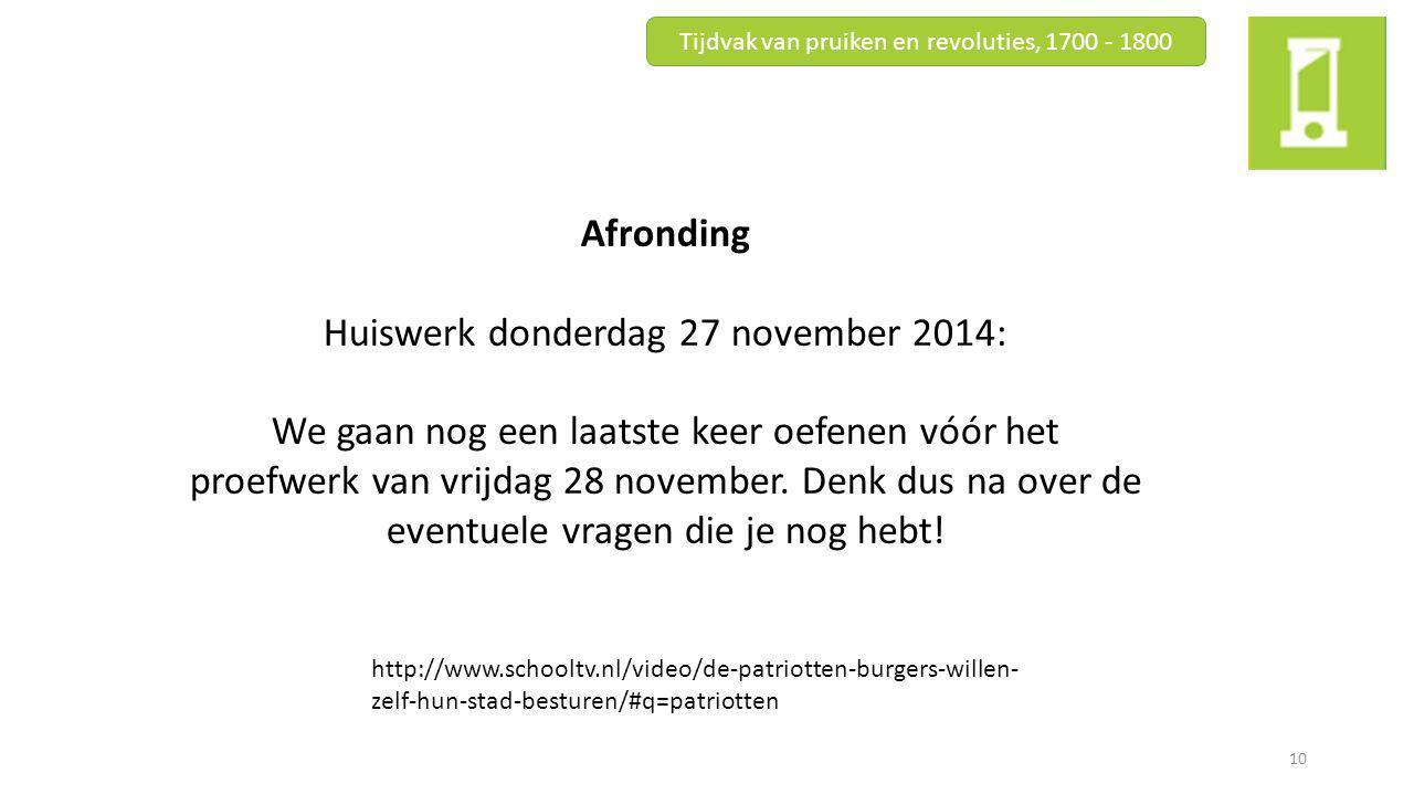Huiswerk donderdag 27 november 2014: