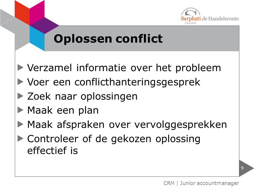Oplossen conflict Verzamel informatie over het probleem