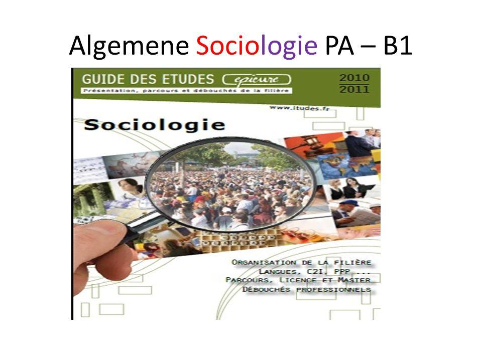 Algemene Sociologie PA – B1