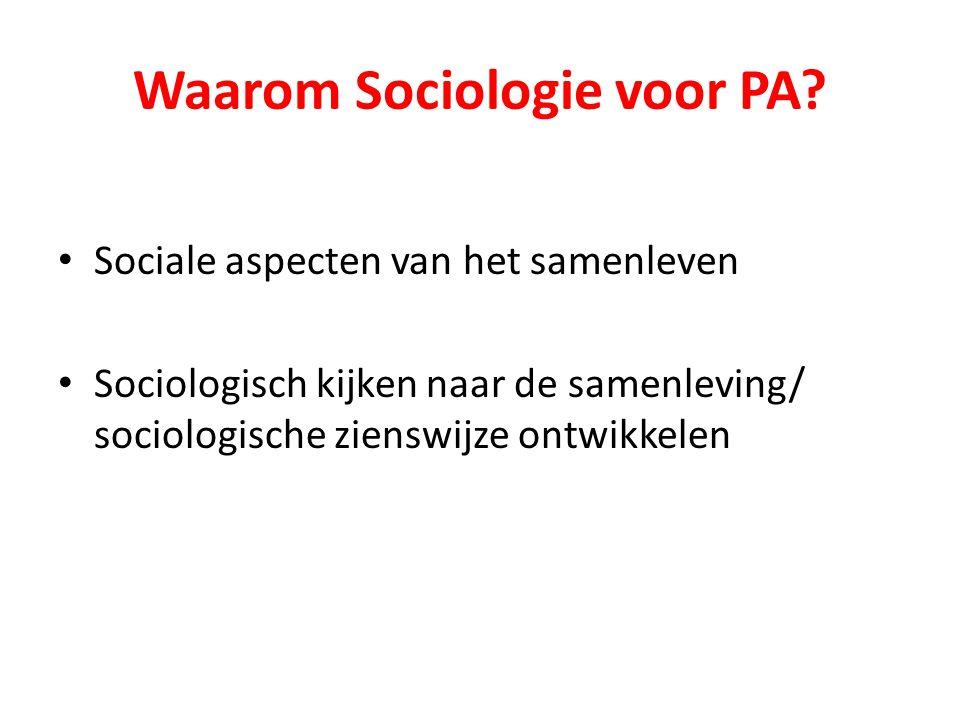 Waarom Sociologie voor PA