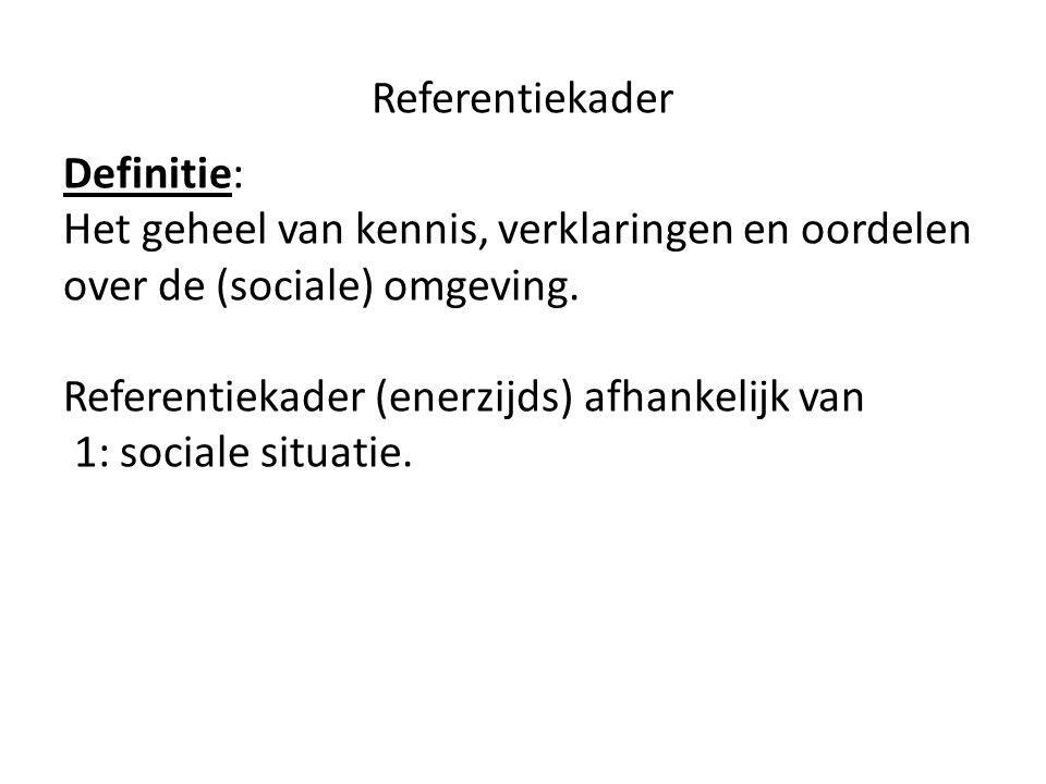 Referentiekader Definitie: Het geheel van kennis, verklaringen en oordelen over de (sociale) omgeving.