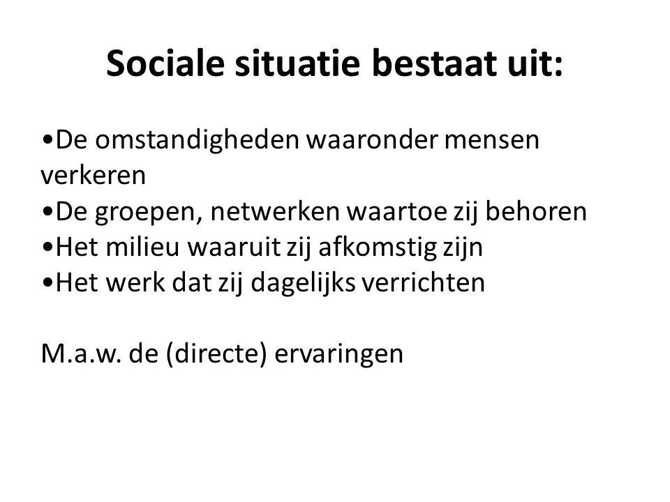 Sociale situatie bestaat uit: