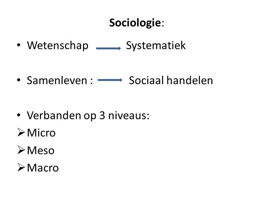 Sociologie: Wetenschap Systematiek. Samenleven : Sociaal handelen. Verbanden op 3 niveaus: