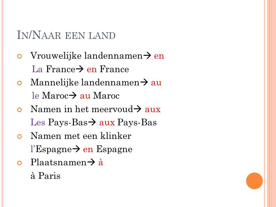 In/Naar een land Vrouwelijke landennamen en La France en France