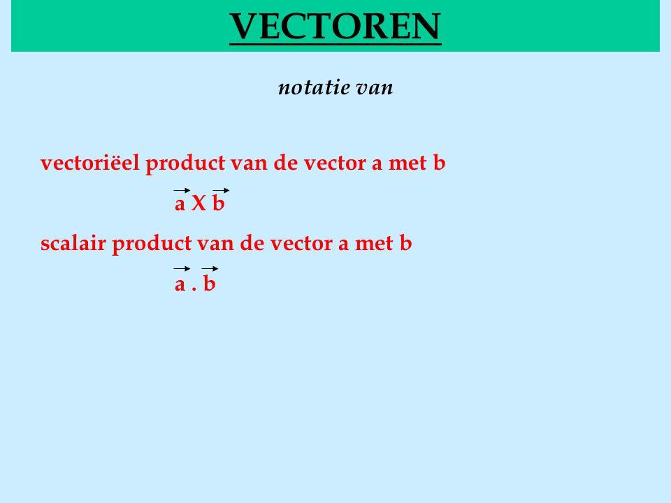 VECTOREN notatie van vectoriëel product van de vector a met b a X b