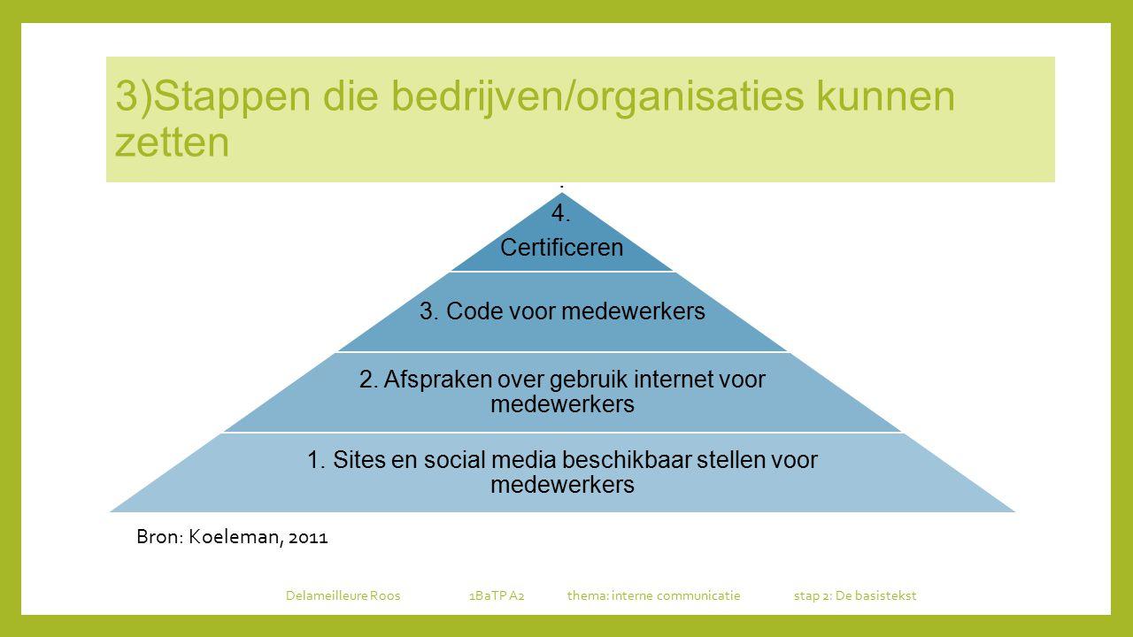 3)Stappen die bedrijven/organisaties kunnen zetten