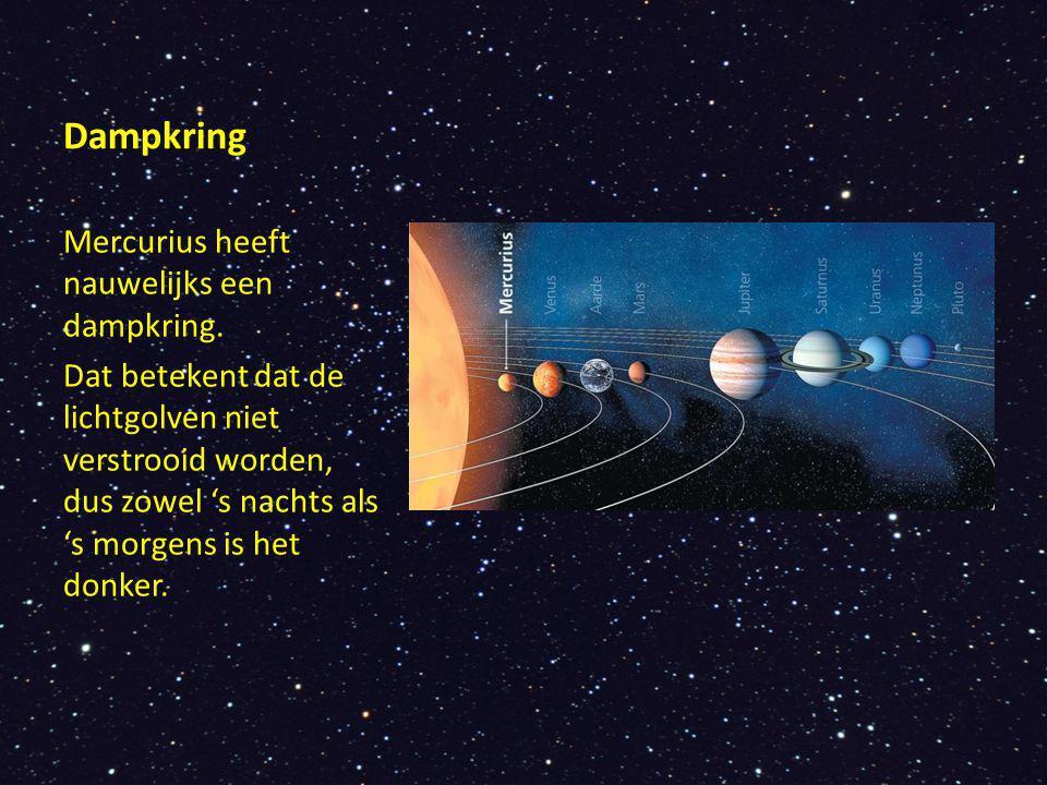 Dampkring Mercurius heeft nauwelijks een dampkring.