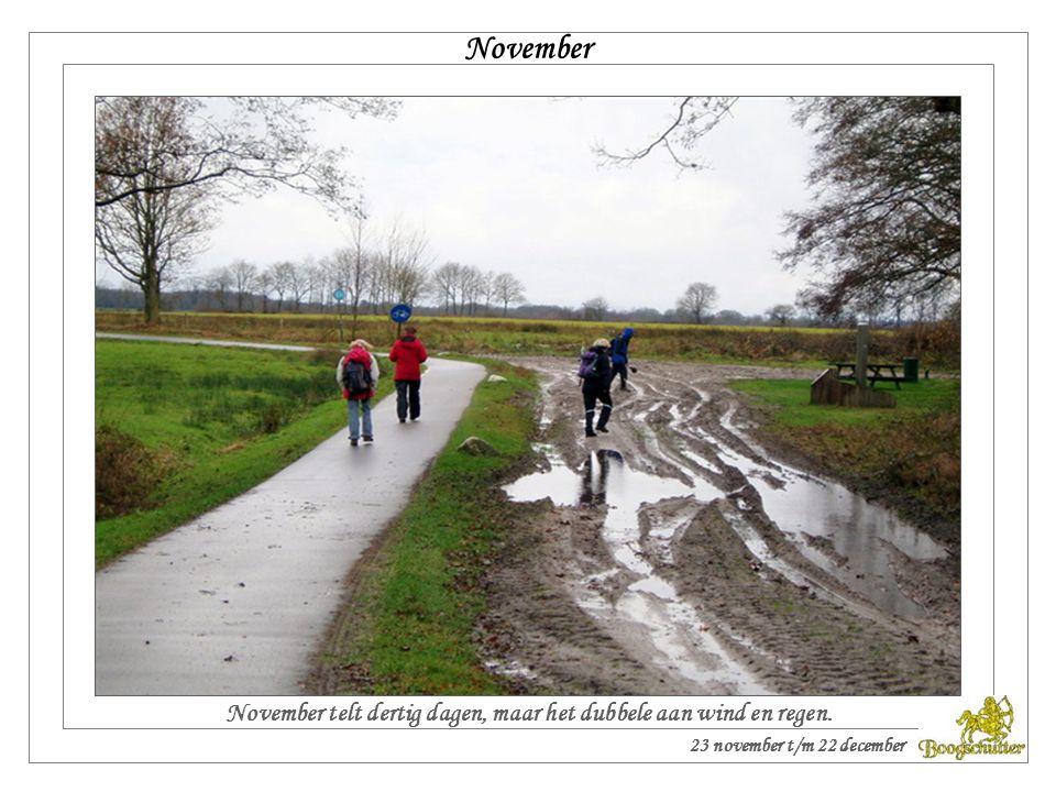 November November telt dertig dagen, maar het dubbele aan wind en regen.