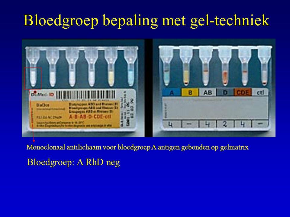 Bloedgroep bepaling met gel-techniek