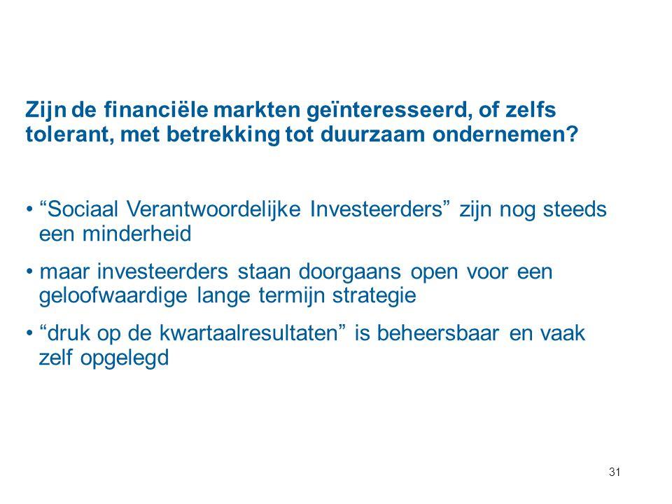 Zijn de financiële markten geïnteresseerd, of zelfs tolerant, met betrekking tot duurzaam ondernemen