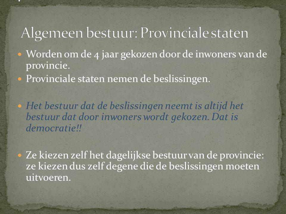 . Algemeen bestuur: Provinciale staten