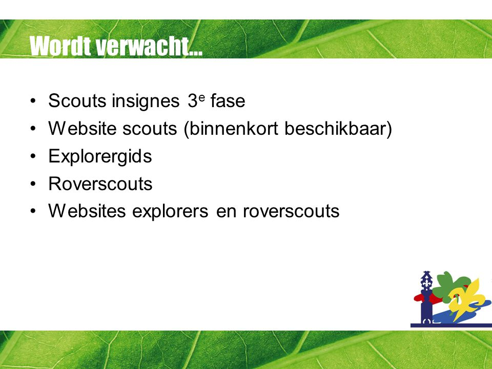 Wordt verwacht... Scouts insignes 3e fase