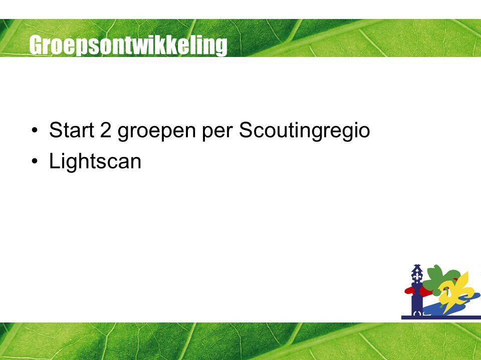 Groepsontwikkeling Start 2 groepen per Scoutingregio Lightscan