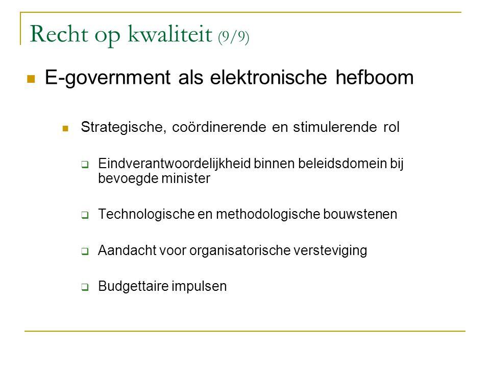 Recht op kwaliteit (9/9) E-government als elektronische hefboom