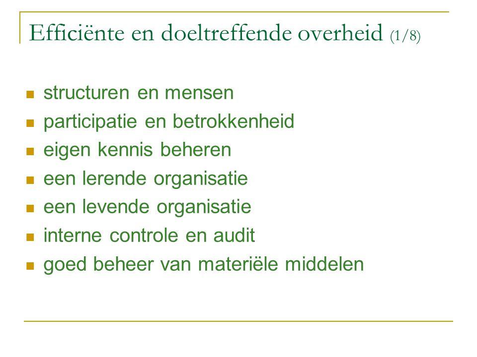 Efficiënte en doeltreffende overheid (1/8)