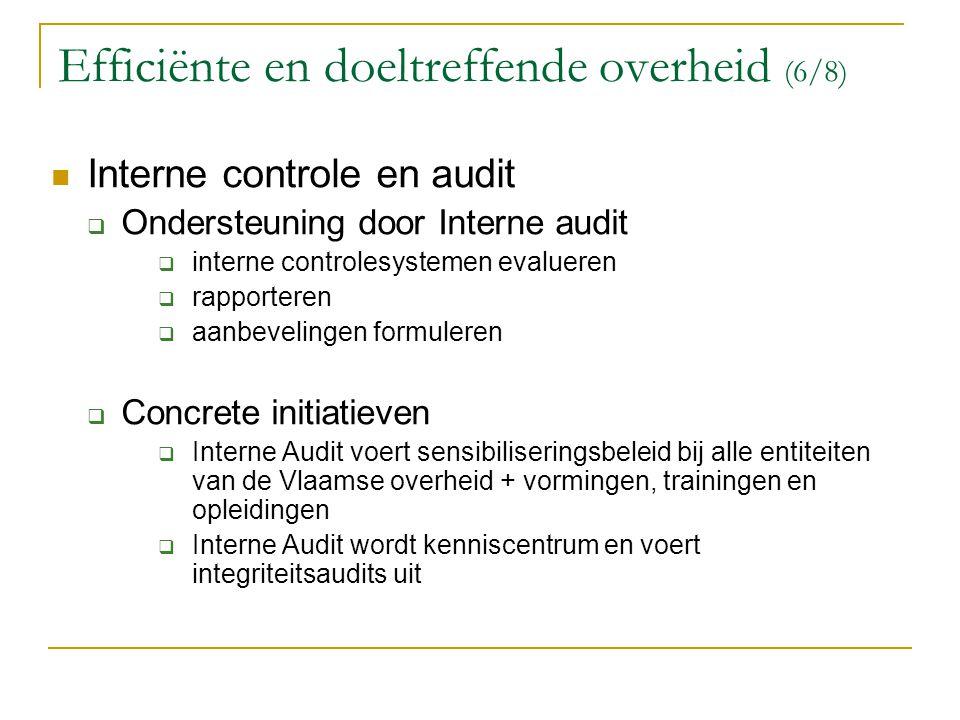 Efficiënte en doeltreffende overheid (6/8)