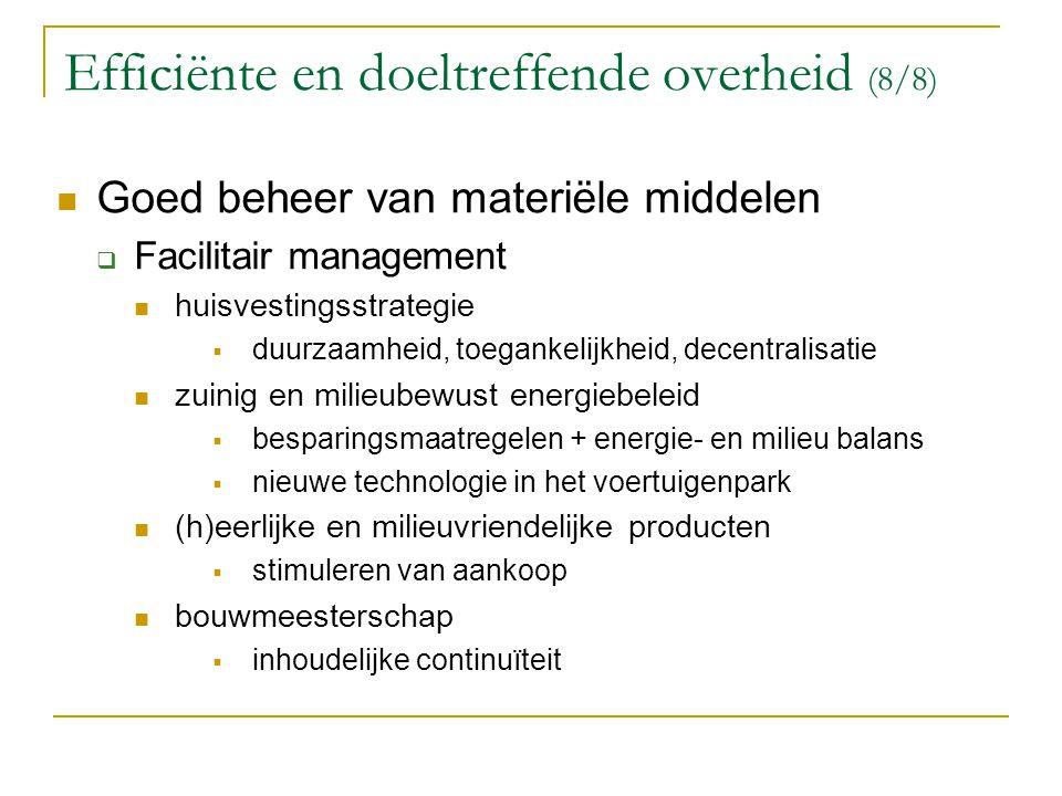 Efficiënte en doeltreffende overheid (8/8)