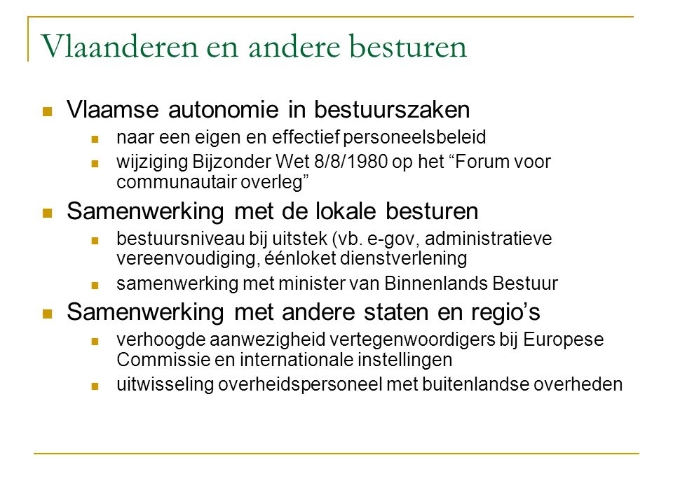 Vlaanderen en andere besturen