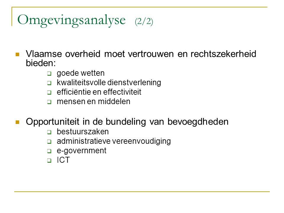 Omgevingsanalyse (2/2) Vlaamse overheid moet vertrouwen en rechtszekerheid bieden: goede wetten. kwaliteitsvolle dienstverlening.
