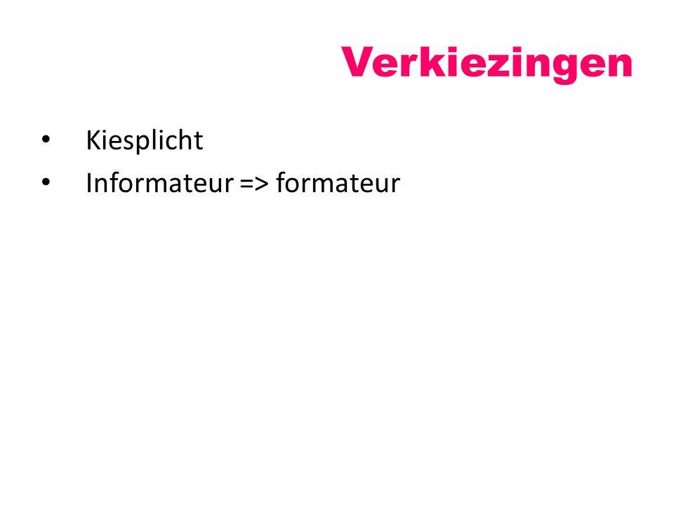 Verkiezingen Kiesplicht Informateur => formateur