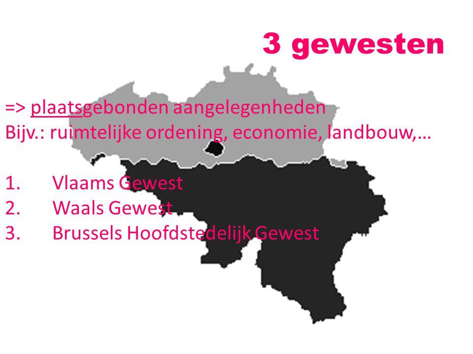 3 gewesten => plaatsgebonden aangelegenheden