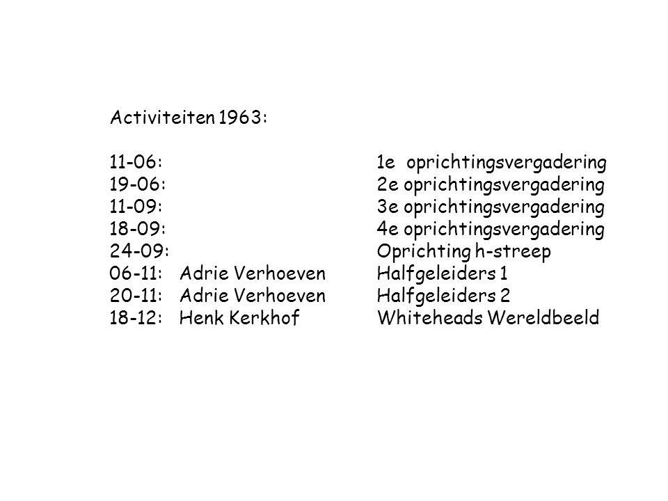 Activiteiten 1963: 11-06: 1e oprichtingsvergadering. 19-06: 2e oprichtingsvergadering. 11-09: 3e oprichtingsvergadering.