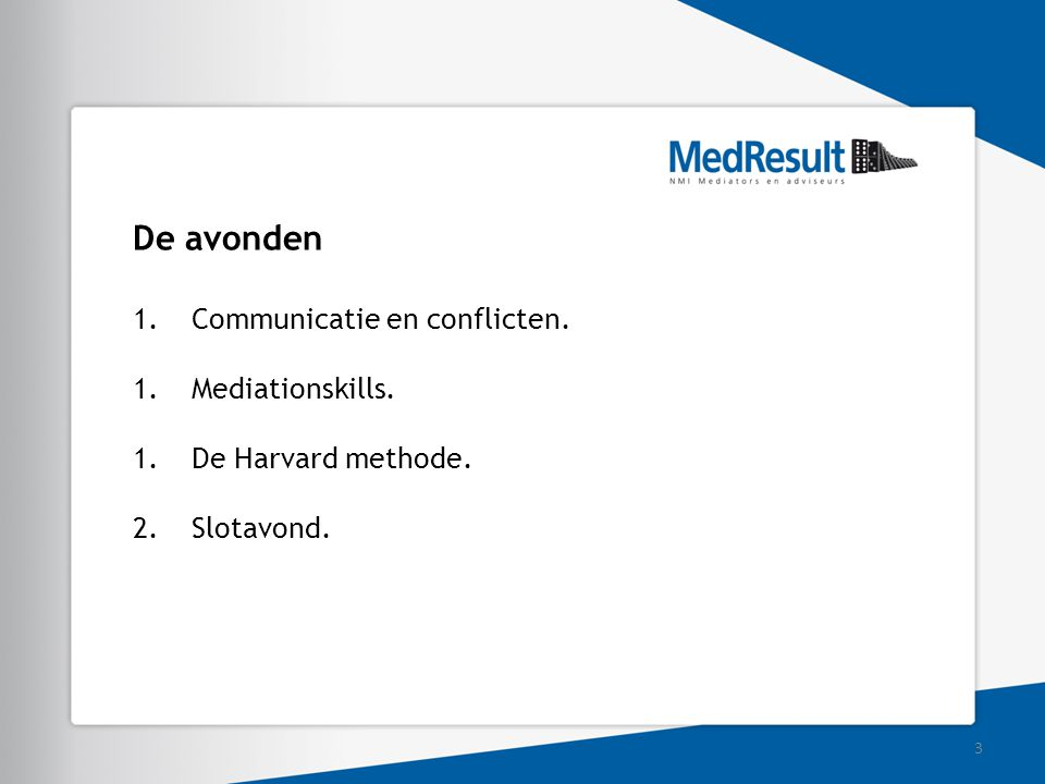 De avonden Communicatie en conflicten. Mediationskills.