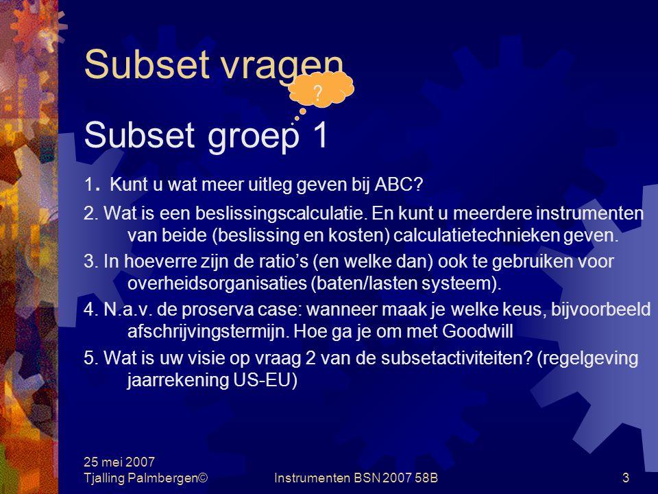 Subset vragen Subset groep 1
