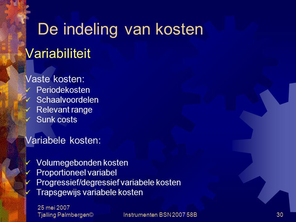 De indeling van kosten Variabiliteit Vaste kosten: Variabele kosten:
