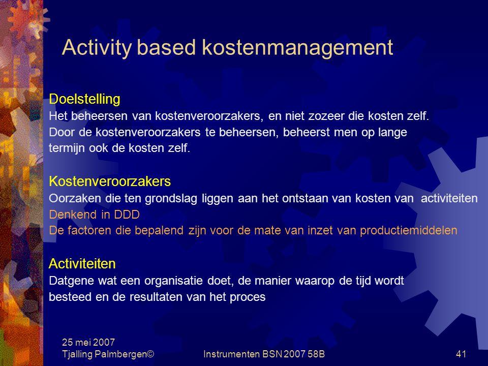 Activity based kostenmanagement